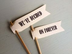 We've Decided On Forever Cake Topper, wedding cake topper flags, rustic wedding on Etsy, $9.00