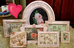 Shabby chic pink set of frames buy as set . Custom orders welcome! by SofisLittleRoom on Etsy