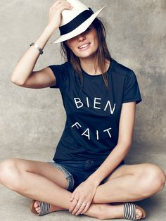 Madewell Bien Fait surf tee worn with Biltmore® for Madewell panama hat + The Thea sandal.