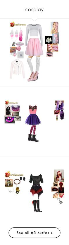 """cosplay"" by johannasuska ❤ liked on Polyvore featuring Carven, River Island, Cotton Candy, Amour, Tarina Tarantino, Simply Silver, Miss Selfridge, disney, OC and Descendants"