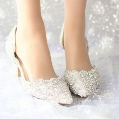 Lace Rhinestone Low Heel wedding Shoes