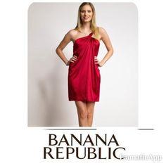 Banana Republic Hot Red Dress One shoulder sateen mini Dress Banana Republic Dresses Mini