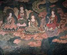 Dunhuang Bodhisattvas: Tang- Dynasty mural of 'Bodhisattvas' found at the 'Mogao Caves' in Dunhuang, China.