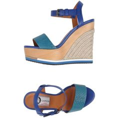 Lanvin Espadrilles (490 AUD) ❤ liked on Polyvore featuring shoes, sandals, deep jade, ankle tie sandals, buckle sandals, leather espadrille sandals, wedge heel sandals and leather ankle strap sandals