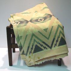 Vintage Indian Camp Blanket  Green Pale Yellow by VintageCreekside, $40.00