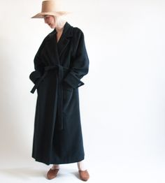 RESERVED. endless night wool cashmere coat / vtg 80s minimalist ...