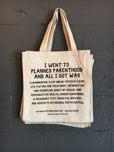 """All proceeds will be donated to Planned Parenthood. All donations are being matched by a generous group of donors to PP through 12/31!Durable canvas tote bag, 15x16"""", screen printed by hand at our shop in New Mexico."""