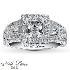 Inspired by Hollywood's glamorous past, brought to life by Neil Lane. The diamond you choose will grace the center of this engagement ring, framed in round diamonds. An abundance of round and baguette diamonds embellish the band of 14K white gold, for a total diamond weight of 3/4 carat. Signature scrollwork completes the look. Each Neil Lane Bridal® ring is hand-crafted and undergoes a four-step polishing process that gives the ring its beautiful shine and luster. With Neil Lane&#1...