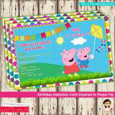 Peppa Pig Birthday Invitation Card-Peppa Pig -Without Picture 3rd Birthday Parties, Birthday Cards, Birthday Ideas, Peppa Pig Birthday Invitations, Peppa Pig World, Pig Party, Invitation Cards, Invites, Creative Ideas