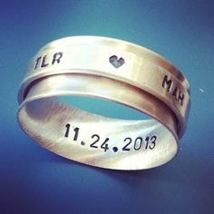 Custom stamped spinner ring in sterling silver $85