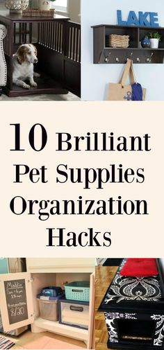 These pet supplies organization ideas are brilliant. They will save you a lot of valuable space and they are great Pet DIY Projects! #pets #organization #petcare