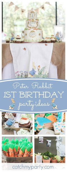 Take a look at this sweet Peter Rabbit 1st Birthday party. The birthday is wonderful!! See more party ideas and share yours at CatchMyParty.com