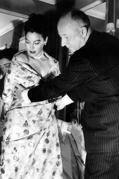 Ava Gardner at a costume fitting with Christian Dior for her film The Little Hut (Mark Robson, 1957)