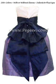 Violet & Grape Silk Cinderella Style Bow FLOWER GIRL DRESSES Style 345 by Pegeen