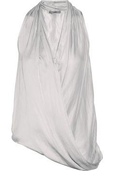 Helmut Lang HELMUT Helmut Lang Glassy draped washed-sateen top NET-A-PORTER.COM