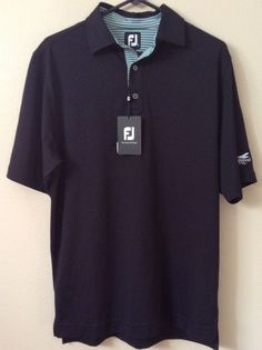 New Men's FootJoy FJ Golf Shirt Small SS Black Green White Striped Polo Logo $69  | eBay