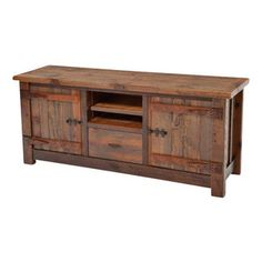"Woodland Creek Furniture - Barnwood Entertainment Center Heritage Collection - The rustic charm of the heritage collection is unparalleled.   The solid wood, hand carved wood hinges always bring an ""ooh or ah"" from customers seeing them for the first time in one of our retail stores.  The wood is over a hundred years old and it is only fitting to use the type of wood hinge furniture builders handmade over 100 years ago."