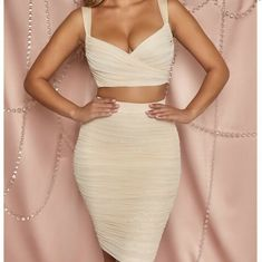Oh Polly 'The Perfect Pair' Cream 2 Piece Co-Ord Pencil Skirt and Crop Top UK 8 #OhPolly #Coordset #PartyCocktail