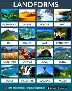 Education Discover Types of Landforms Learn English For Free Learn English Words Learn English Grammar English Language Learning English Vocabulary English Course English Fun English Study English Lessons Hello English App, English Fun, English Writing, English Study, English Lessons, English Course, Travel English, Learn English Grammar, English Vocabulary Words