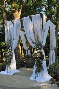 WOODEN WEDDING ARCH RENTAL: wood wedding arches or wooden wedding arches can be draped with fabric and lights. Our wood wedding arches are beautiful. Wedding Arch Rental, Wedding Pergola, Wedding Ceremony Arch, Wedding Rentals, Wedding Backyard, Gazebo Wedding Decorations, Decor Wedding, Outdoor Ceremony, Wedding Signs