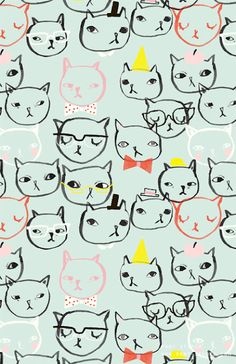 Would love this as wallpaper!!  meow meow meow