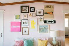 @Alaina Kaczmarski  Chicago Apartment Tour // office // pink // gallery wall // @Farrow & Ball  Middleton Pink paint // @IKEA USA  white couch // @Caitlin Wilson Textiles pillows // gourd lamp // photography by Stoffer Photography