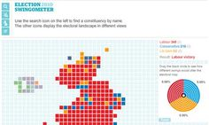"""Election constituency map  The guardian and its """"swingometer"""" map"""