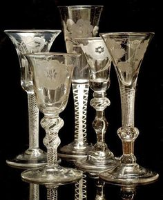 """Jacobite Glasses, century most often used for toasting Prince Charles Edward Stuart (""""Bonnie Prince Charlie""""). The Jacobites were supporters of the exiled King James II who abdicated in and of his descendants James Edward Stuart (the """"Old Cut Glass, Glass Art, Cristal Art, Glass Engraving, Antique Glassware, Engraved Glassware, Antique Bottles, Vintage Bottles, Vintage Wine"""