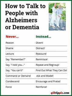 How to talk to those with dementia or memory loss conditions with dignity...
