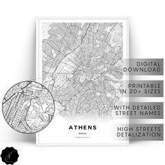 Athens City Map Print, Athens Map Print, Map Gifts, Athens Map Wall Art, Printable Map Of Athens, Printable Wall Art, Athens Greece Map New York City Map, City Maps, Athens Map, Athens City, Printable Maps, Printable Wall Art, Greece Map, Athens Greece