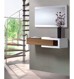 Nicia Hallway Wall Unit 1 Drawer Walnut Frame with Gloss White + Mirror Included Sideboard Furniture, Hallway Furniture, Entryway Decor, Home Furniture, Dressing Table Design, Modern Entry, Wall Decor Design, White Mirror, Mirror Set