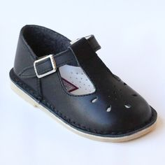 L'Amour Girls 837 Black T-Strap Leather Mary Janes