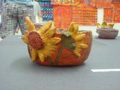 Van Gogh Sunflower pinch pots
