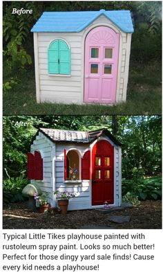 Typical Little Tikes playhouse painted with rustoleum spray paint. Perfect for those dingy yard sale finds. Typical Little Tikes playhouse painted with rustoleum spray paint. Perfect for those dingy yard… Maison Little Tikes, Little Tikes House, Little Tikes Playhouse, Playhouse Ideas, Backyard Playhouse, Little Tikes Redo, Little Tikes Sandbox, Playhouse Slide, Little Tikes Makeover