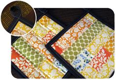 Quilted Patchwork Hot Pads Tutorial on Sew Mama Sew Sewing Hacks, Sewing Tutorials, Sewing Ideas, Bag Tutorials, Quilting Tutorials, Sewing Tips, Potholder Patterns, Sewing Patterns, Purse Patterns
