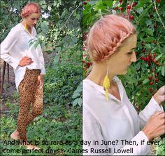 pink hair, outfit, animal print, braided hair