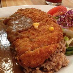 Pork katsu curry with brown rice.