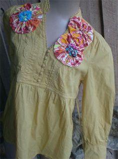 Upcycle Boho Shirt Gold : Size Med - $39.00