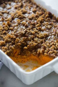 Traditional sweet potato casserole with brown sugar pecan topping is my all-time-favorite Thanksgiving side dish! I love learning what everyone's favorite Thanksgiving foods are. Potatoe Casserole Recipes, Sweet Potato Casserole, Sweet Potato Recipes, Corn Casserole, Potato Caserole, Asparagus Casserole, Vegetable Casserole, Vegetable Dishes, Thanksgiving Side Dishes