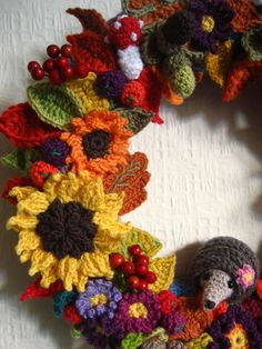 Autumn Wreath made from 82 individual crocheted pieces. Patterns available for nearly all the pieces.