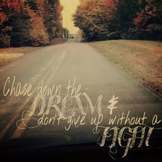"""Chase down the dream and don't give up without a fight."" - Hanson"