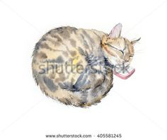 Connected. Cat and mobile phone. Domestic cat. Cats background. Watercolor hand drawn illustration