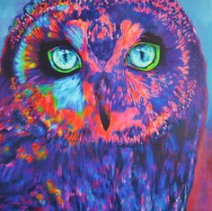 Technique: Acrylic on canvas mixed media art Size: cm Year: 2016 Painting Gallery, Year 2016, Medium Art, Mixed Media Art, Owl, Bird, Canvas, Animals, Fictional Characters