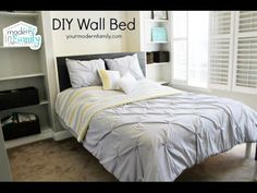 This DIY wall bed is the perfect Queen Murphy Bed! These Murphy Bed plans are easy & can be done over a weekend. Shows you exactly how to Build a Murphy Bed Build A Murphy Bed, Queen Murphy Bed, Murphy Bed Plans, Camas Murphy, Murphy-bett Ikea, Modern Murphy Beds, Budget Planer, Bed Wall, Decorate Your Room