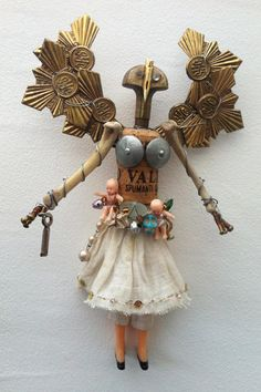 Chatelaine, Talisman, sculpture by Catherine Phelps #assemblage #sculpture #foundart #chatelaine