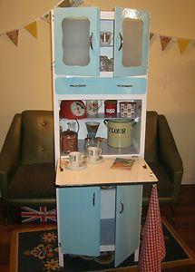 Retro 50s Kitchen Cabinet, Vintage, Larder, Cupboard, Pantry 60s, Dresser, Blue