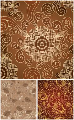 Floral abstract patterns vector