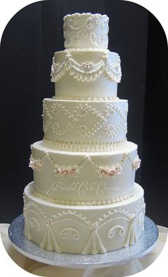Traditional Ivory Wedding Cake by Graceful Cake Creations, via Flickr