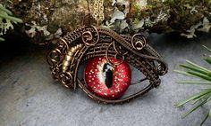 Gothic Steampunk Bronze Evil Eye Pendant Hot by twistedsisterarts, $44.95