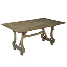 Get the feel of old Provence on this weathered wood dining table featuring a soothing driftwood finish. A unique carved and open stretcher leaves plenty of leg room for guests to linger over a delicious meal. Shop French country dining tables now. French Farmhouse Table, Driftwood Dining Table, Country Furniture, Country Dining Tables, Furniture, French Country Dining Table, Home Decor, Walnut Dining Table, Dining Table